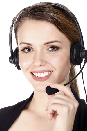 helpdesk: Beautiful customer service operator woman with headset, isolated on white background.