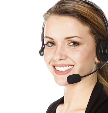 handsfree phone: Beautiful customer service operator woman with headset, isolated on white background.