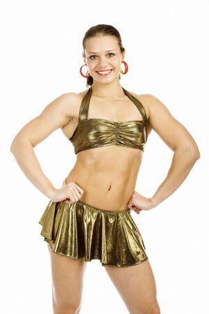 beautiful woman bodybuilder posing against white background  Stock Photo