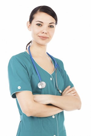 medical student: Female medical doctor with stethoscope posing agaisnt white background.