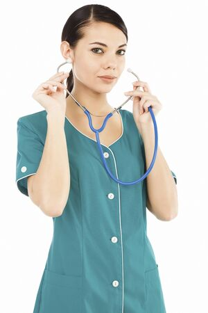 Female medical doctor with stethoscope posing against white background Stock Photo - 9372227