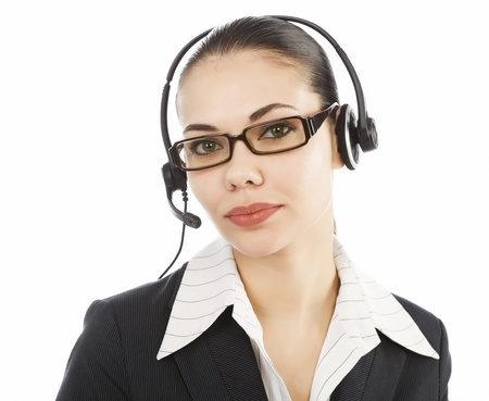 Beautiful customer service operator woman with headset, isolated on white background. Stock Photo - 9404701