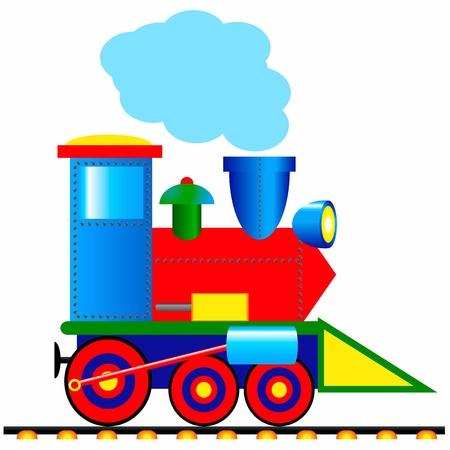 tren caricatura: Locomotora de vapor sobre fondo blanco