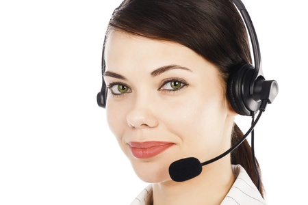 handsfree phone: Beautiful customer service operator woman with headset, isolated on white background..