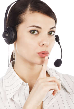 Closeup portrait of beautiful call center operator woman with headset, isolated on white background photo