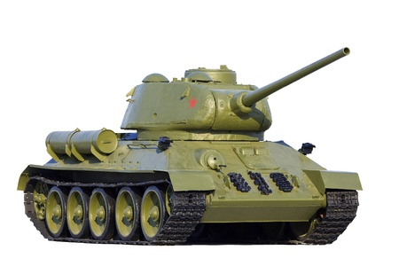 Old soviet tank model T-34, isolated over white background. photo
