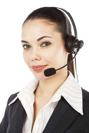 Beautiful customer service operator woman with headset, isolated on white background  photo