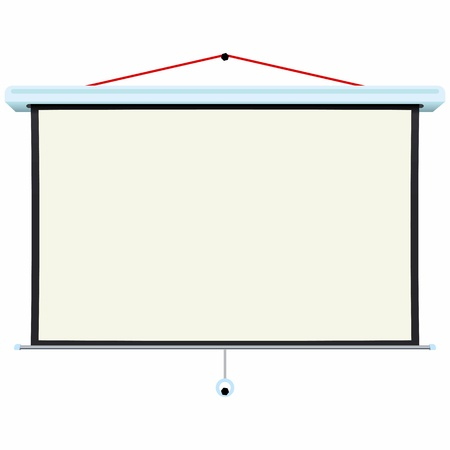 home cinema: Wall screen on white background