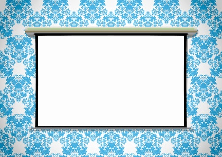 projection screen: Empty projection screen on the wallpaper background