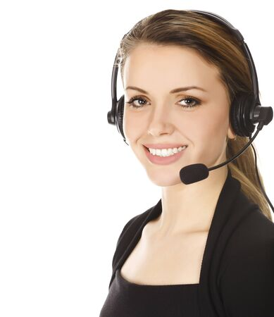 handsfree phone: Business woman with headset - isolated over a white background.