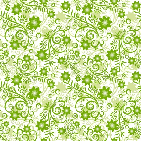 Seamless floral green background. Vector