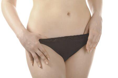 woman in black underwear on white background  photo