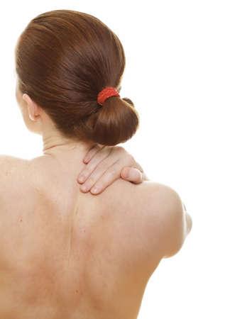 Woman massaging pain back isolated on white background  Stock Photo - 9742030