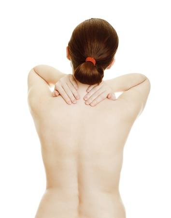 Osteochondrosis - woman massaging pain back, isolated over a white background Stock Photo - 9742036