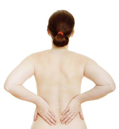 Osteochondrosis - woman massaging pain back, isolated over a white background Stock Photo - 9742034