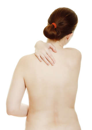 Osteochondrosis - woman massaging pain back, isolated over a white background Stock Photo - 9742035