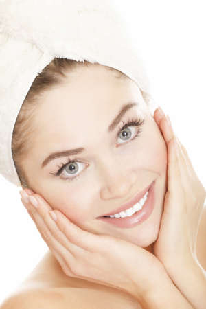 beautiful face: Beautiful young woman face with white towel on the head, isolated on white background Stock Photo