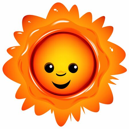 happily smiling sun on a white background  Vector