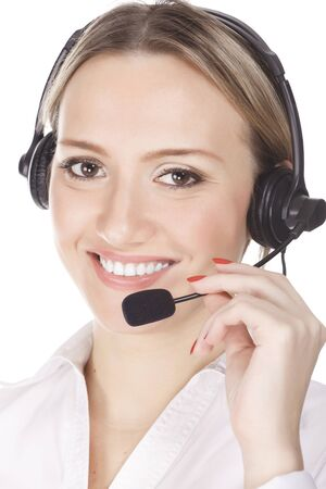 smiling cheerful support phone operator in headset, isolated on white background.  photo