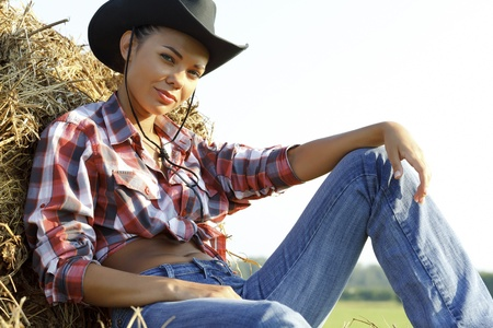chapeau paille: Beautiful Country Girl  Banque d'images