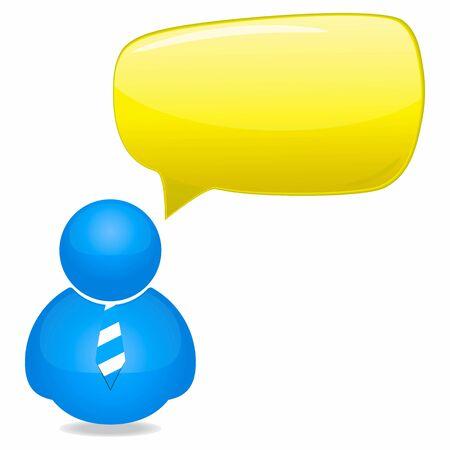 Kunststoff-Person-Symbol mit Sprechblase und Krawatte