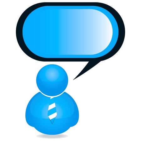 bubble icon: Plastic Person Icon with Speech Bubble and Tie  Illustration
