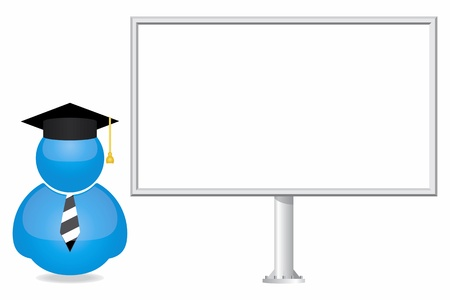 internet class: Student icon and billboard  Illustration