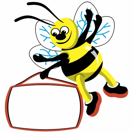 Cartoon bee with speech bubble  Stock Photo