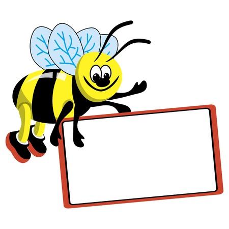 bee cartoon: Cartoon bee with speech bubble