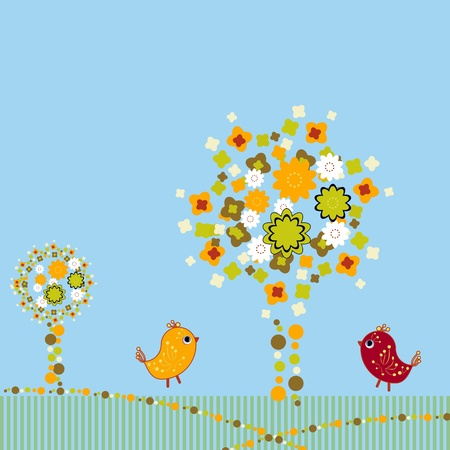bird house: Background with birds and trees