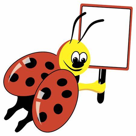 ladybirds: Cartoon ladybird with speech bubble