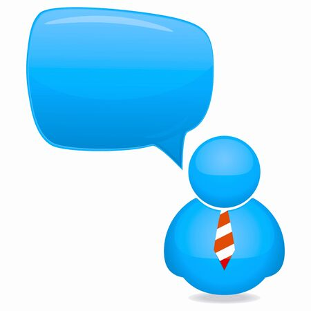 Plastic Person Icon with Speech Bubble and Tie Stock Photo - 10343667