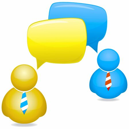Plastic People Icons with Speech Bubbles and Ties Stock Photo - 10348773
