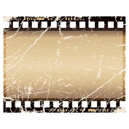 grunge film frame, isolated over white background