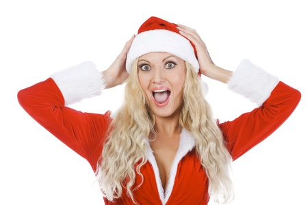 going crazy: Screaming Santa girl, isolated on white background