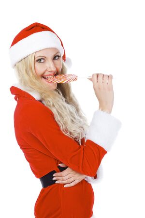 lollypop: Santa girl with lollypop Stock Photo