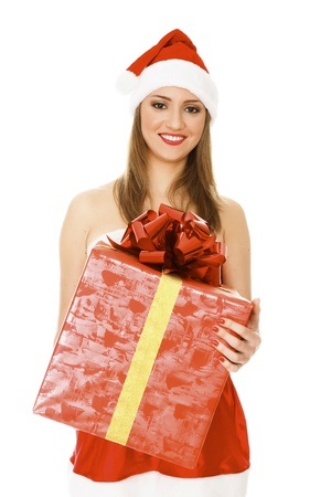 Santa girl with a present, isolated on white background  photo
