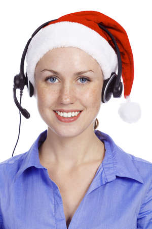 freckled: Christmas operator woman, isolated on white background