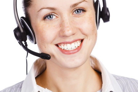 Beautiful customer service operator woman with headset, isolated on white background Stock Photo - 11186590