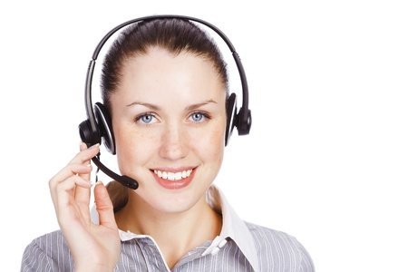 telephone operator: Friendly telephone operator smiling to you, isolated over white background