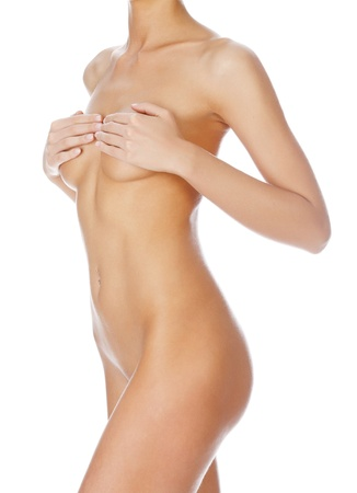 nude breast: Beautiful female body isolated on clear white background