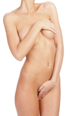 nice breast: Naked female body on white background Stock Photo