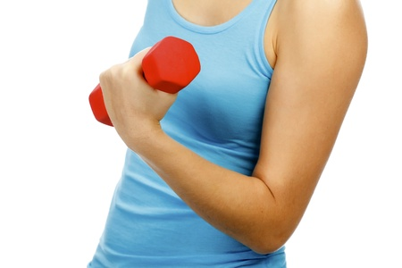 woman with dumb-bells in hands  Stock Photo - 11562685