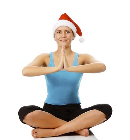 santa outfit: Santa yoga Stock Photo