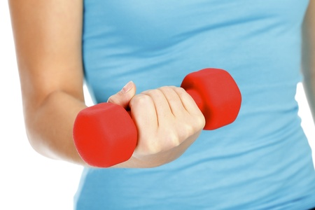 Female hand with a red barbell Stock Photo - 11562734