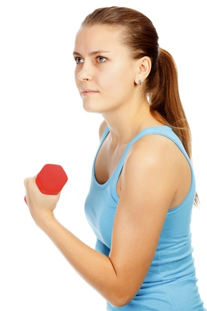 Girl with barbells on white background  photo