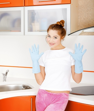 Girl at the kitchen photo