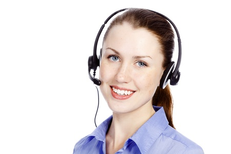 telephone headsets: Beautiful customer service operator woman with headset, isolated on white background