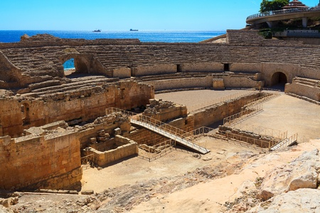roman empire: Ruins of the ancient amphitheater in Tarragona, Spain.