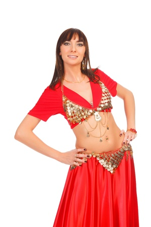 Belly dancer in red dress, isolated on a white background Stock Photo - 12183935